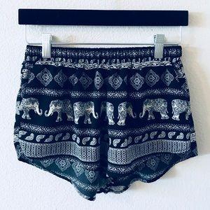 Forever 21 Elephant Boho Print Soft Shorts